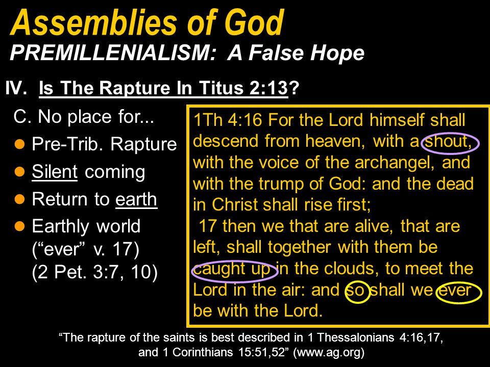 IV.Is The Rapture In Titus 2:13.
