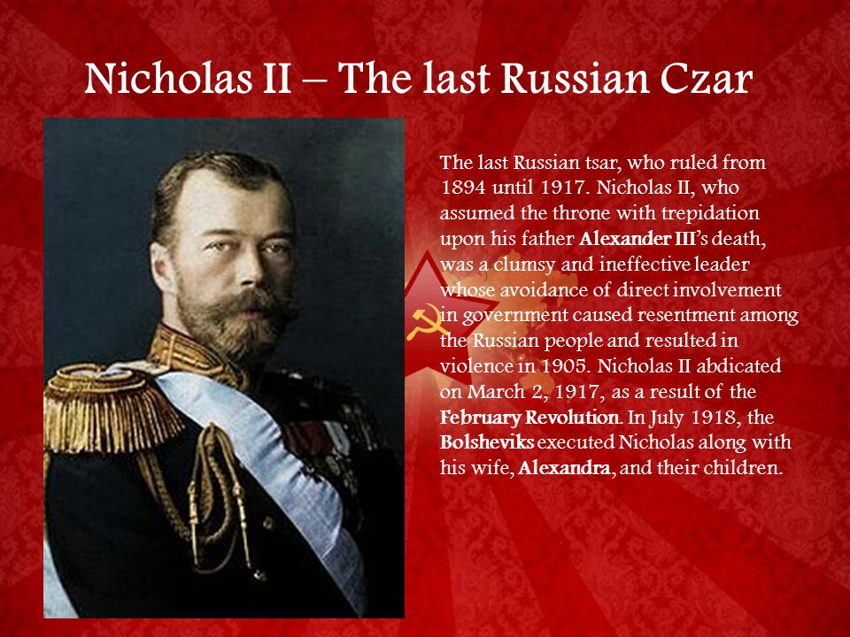 Russia: Fall of Tsarist monarchy to Stalin's Soviet Union Source C: Coronation of Tsar Nicholas II What does this source tell you about the Tsar? (5)