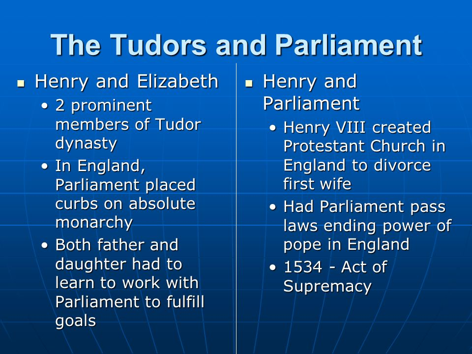 The Tudors and Parliament Henry and Elizabeth Henry and Elizabeth 2 prominent members of Tudor dynasty2 prominent members of Tudor dynasty In England,