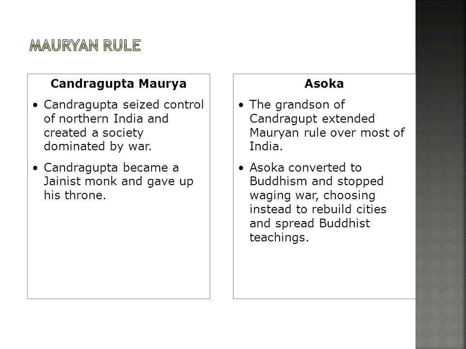 Candragupta Maurya Candragupta seized control of northern India and created a society dominated by war. Candragupta became a Jainist monk and gave up