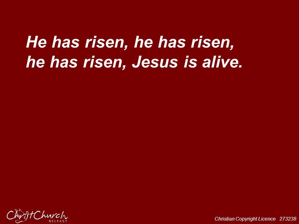 He has risen, he has risen, he has risen, Jesus is alive.