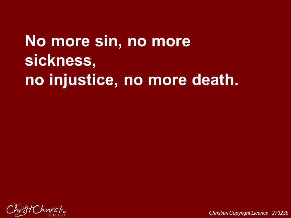 Christian Copyright Licence 273238 No more sin, no more sickness, no injustice, no more death.