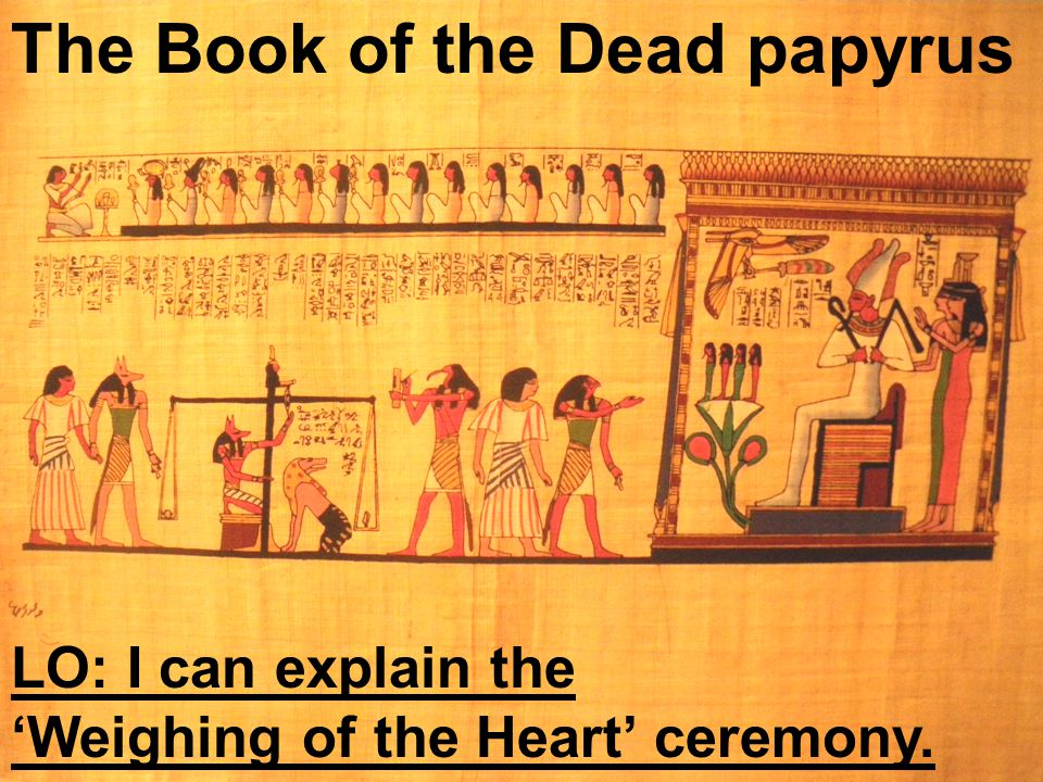 The Book of the Dead papyrus LO: I can explain the 'Weighing of the Heart' ceremony.
