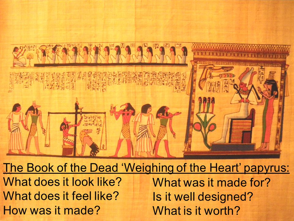 The Book of the Dead 'Weighing of the Heart' papyrus: What does it look like? What does it feel like? How was it made? What was it made for? Is it wel