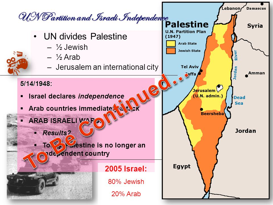 UN Partition and Israeli Independence UN divides Palestine –½ Jewish –½ Arab –Jerusalem an international city 5/14/1948:  Israel declares independence  Arab countries immediately attack  ARAB ISRAELI WARS.