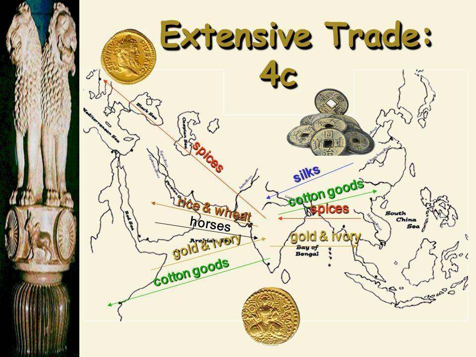 Extensive Trade: 4c Extensive Trade: 4c spices spices gold & ivory rice & wheat horses cotton goods silks