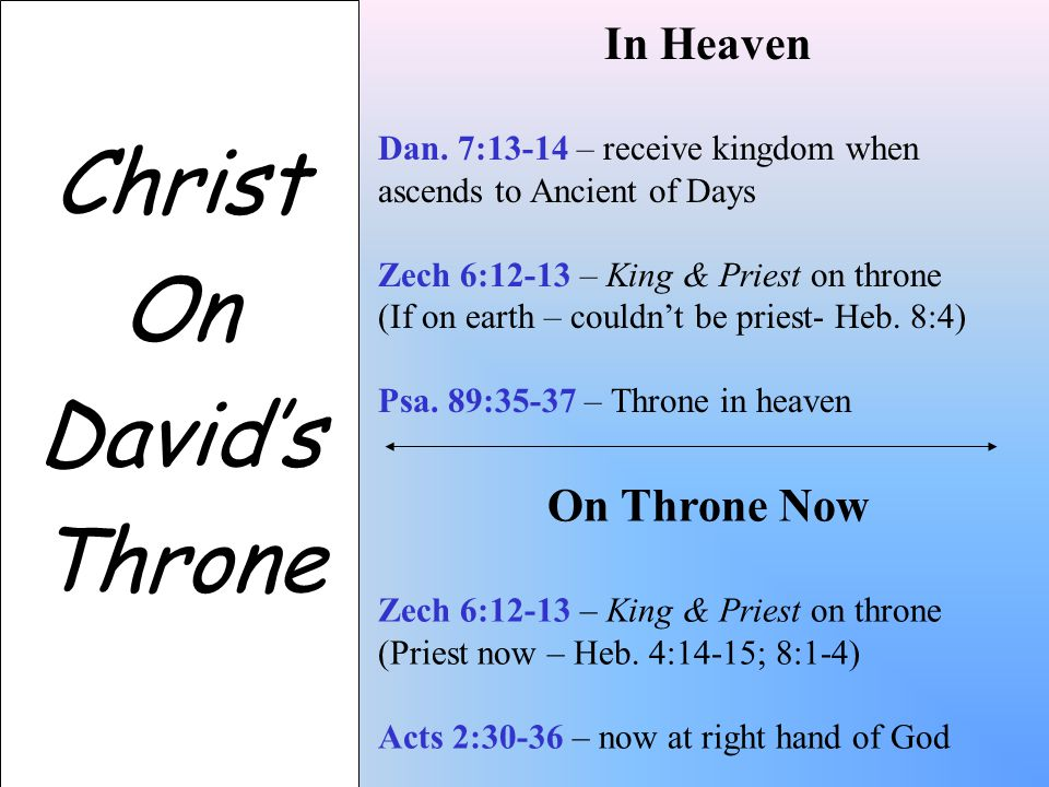 Christ On David's Throne In Heaven Dan.