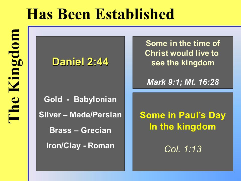 The Kingdom Has Been Established Daniel 2:44 Gold - Babylonian Silver – Mede/Persian Brass – Grecian Iron/Clay - Roman Some in the time of Christ would live to see the kingdom Mark 9:1; Mt.