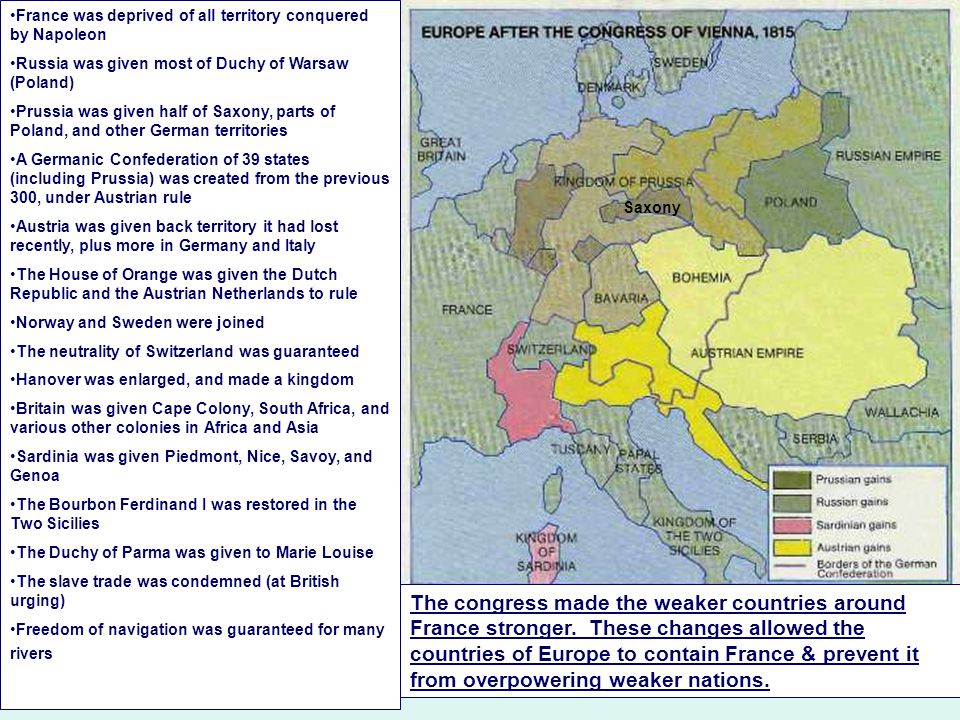 Although the leaders of Europe wanted to weaken France, they did not want to go too far: If they severely punished France, then they might encourage the French to take revenge If they broke up France, then another country might become too strong & threaten all of Europe Although France was required to give up all of its territories, France itself remained intact, with basically it's same boundaries as in 1790 France also kept some of its overseas possessions, its army, & an independent government.