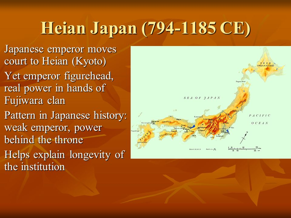 Heian Japan (794-1185 CE) Japanese emperor moves court to Heian (Kyoto) Japanese emperor moves court to Heian (Kyoto) Yet emperor figurehead, real pow