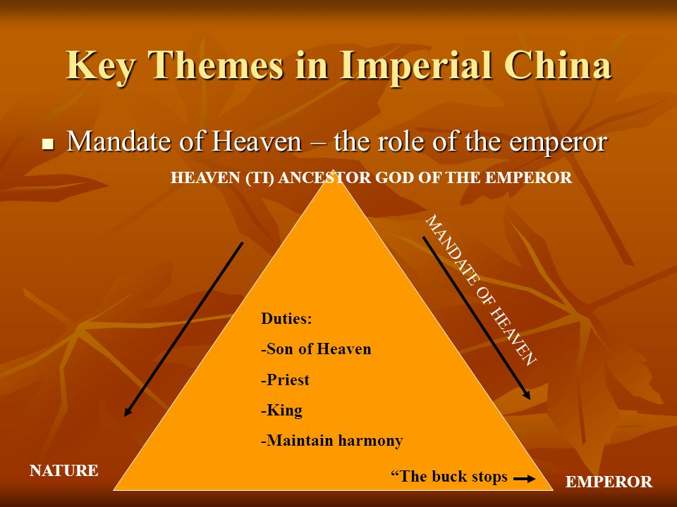 Key Themes in Imperial China Mandate of Heaven – the role of the emperor Mandate of Heaven – the role of the emperor HEAVEN (TI) ANCESTOR GOD OF THE EMPEROR MANDATE OF HEAVEN EMPEROR NATURE Duties: -Son of Heaven -Priest -King -Maintain harmony The buck stops
