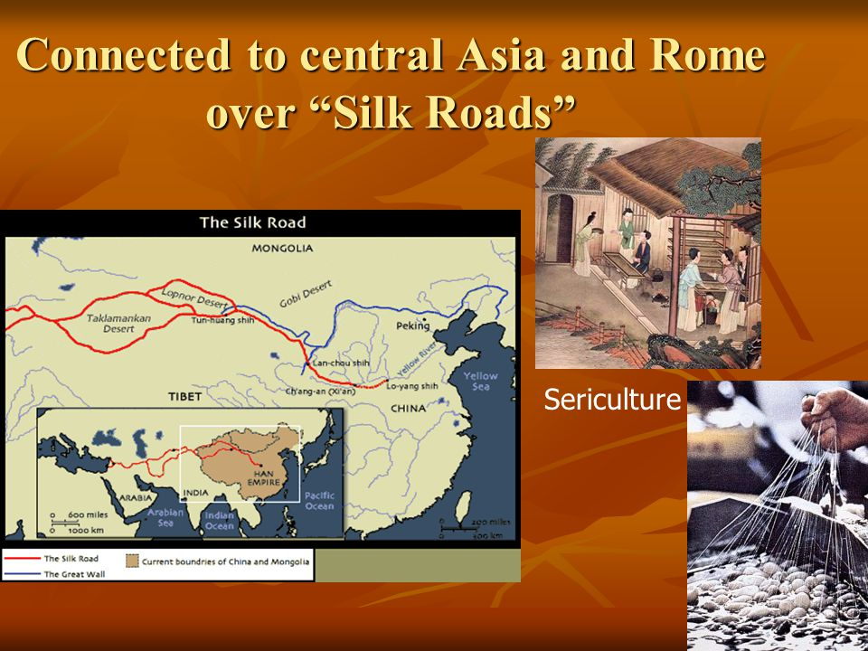"Connected to central Asia and Rome over ""Silk Roads"" Sericulture"