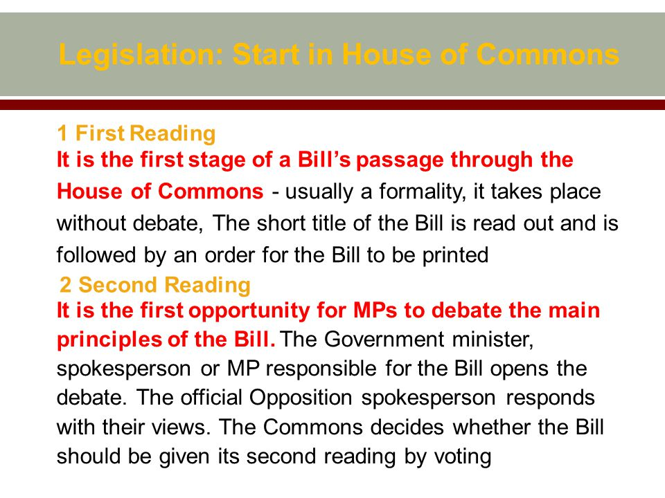 Legislation: Start in House of Commons 1 First Reading It is the first stage of a Bill's passage through the House of Commons - usually a formality, it takes place without debate, The short title of the Bill is read out and is followed by an order for the Bill to be printed 2 Second Reading It is the first opportunity for MPs to debate the main principles of the Bill.