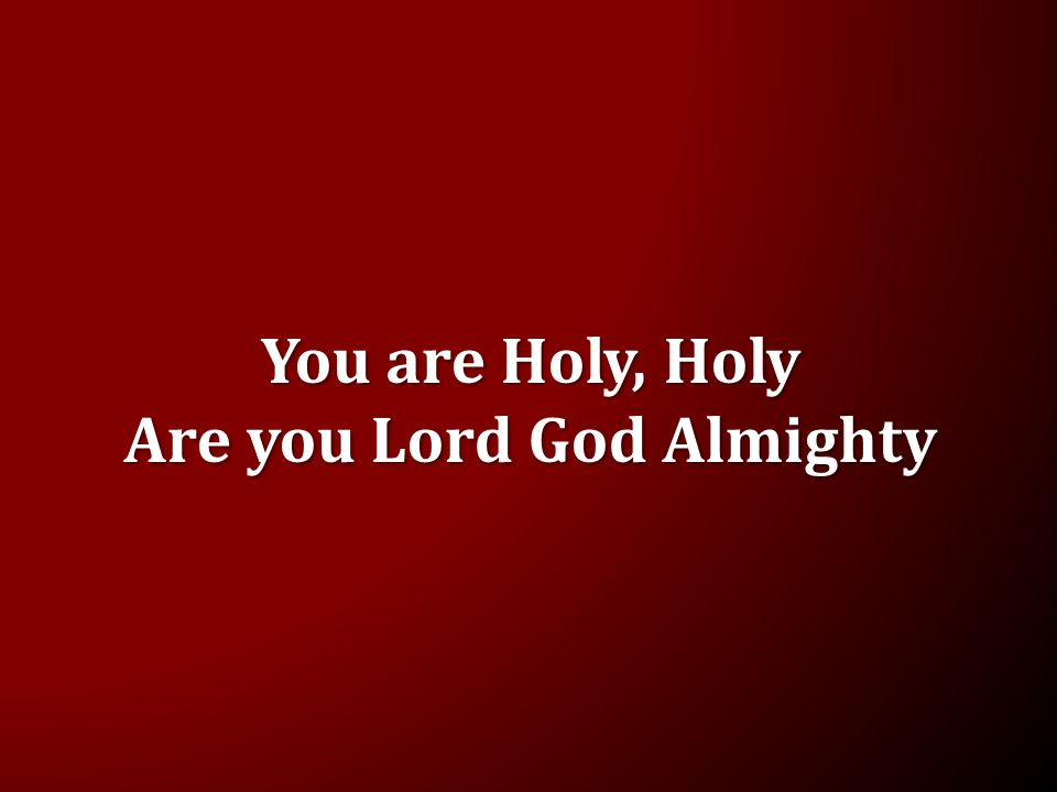 You are Holy, Holy Are you Lord God Almighty