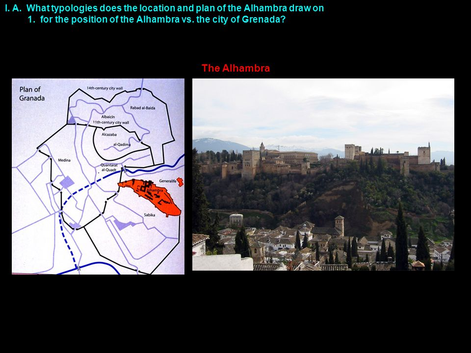 The Alhambra I. A. What typologies does the location and plan of the Alhambra draw on 1.