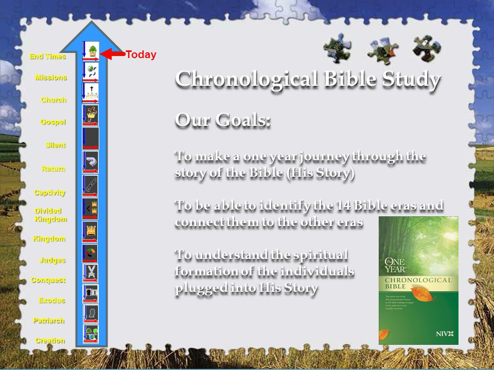 Chronological Bible Study Our Goals: To make a one year journey through the story of the Bible (His Story) To be able to identify the 14 Bible eras and connect them to the other eras To understand the spiritual formation of the individuals plugged into His Story Chronological Bible Study Our Goals: To make a one year journey through the story of the Bible (His Story) To be able to identify the 14 Bible eras and connect them to the other eras To understand the spiritual formation of the individuals plugged into His Story Creation Patriarch Exodus Conquest Judges Kingdom Divided Kingdom Captivity Return Silent Gospel Missions End Times Church Today