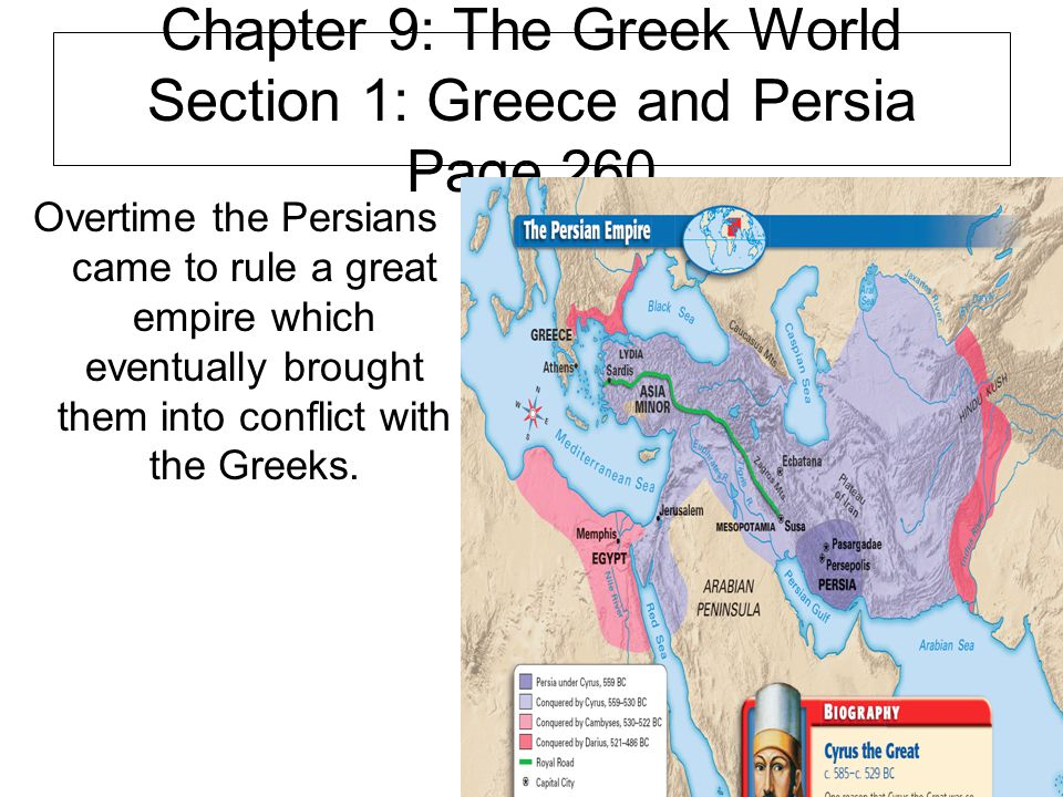 Chapter 9: The Greek World Section 1: Greece and Persia Page 260 Overtime the Persians came to rule a great empire which eventually brought them into conflict with the Greeks.
