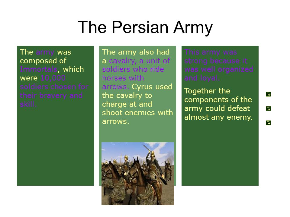 The Persian Army This army was strong because it was well organized and loyal.