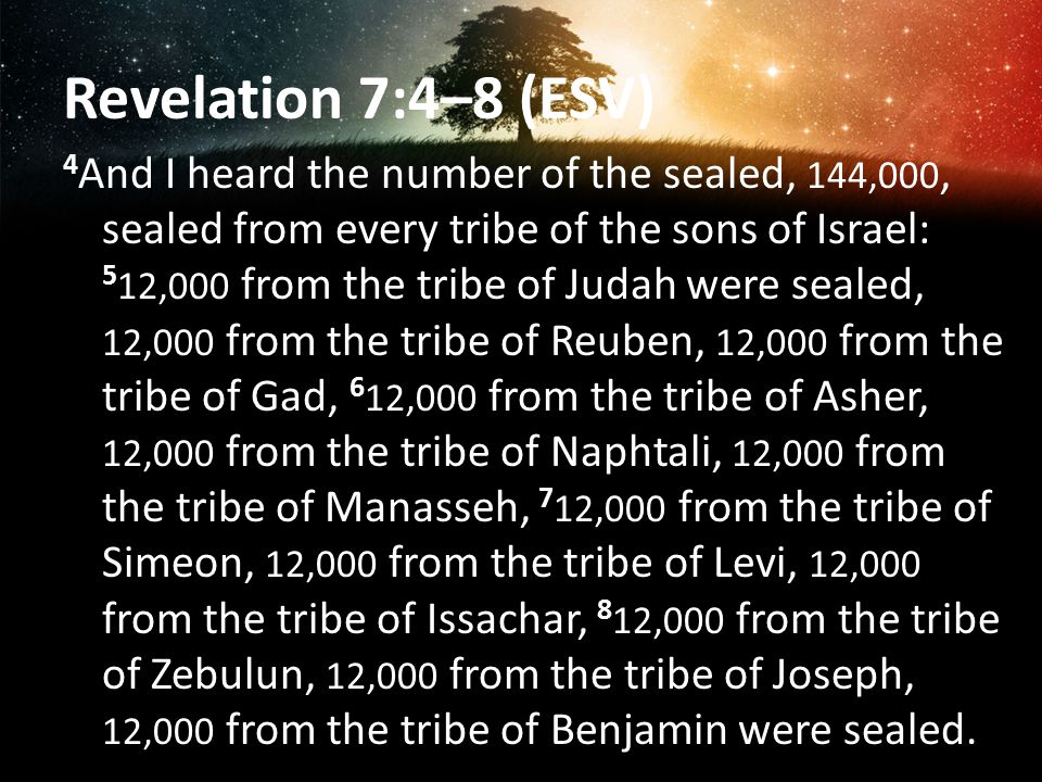 Revelation 7:4–8 (ESV) 4 And I heard the number of the sealed, 144,000, sealed from every tribe of the sons of Israel: 5 12,000 from the tribe of Judah were sealed, 12,000 from the tribe of Reuben, 12,000 from the tribe of Gad, 6 12,000 from the tribe of Asher, 12,000 from the tribe of Naphtali, 12,000 from the tribe of Manasseh, 7 12,000 from the tribe of Simeon, 12,000 from the tribe of Levi, 12,000 from the tribe of Issachar, 8 12,000 from the tribe of Zebulun, 12,000 from the tribe of Joseph, 12,000 from the tribe of Benjamin were sealed.