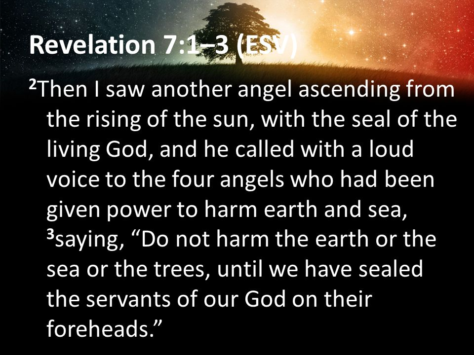 Revelation 7:1–3 (ESV) 2 Then I saw another angel ascending from the rising of the sun, with the seal of the living God, and he called with a loud voice to the four angels who had been given power to harm earth and sea, 3 saying, Do not harm the earth or the sea or the trees, until we have sealed the servants of our God on their foreheads.