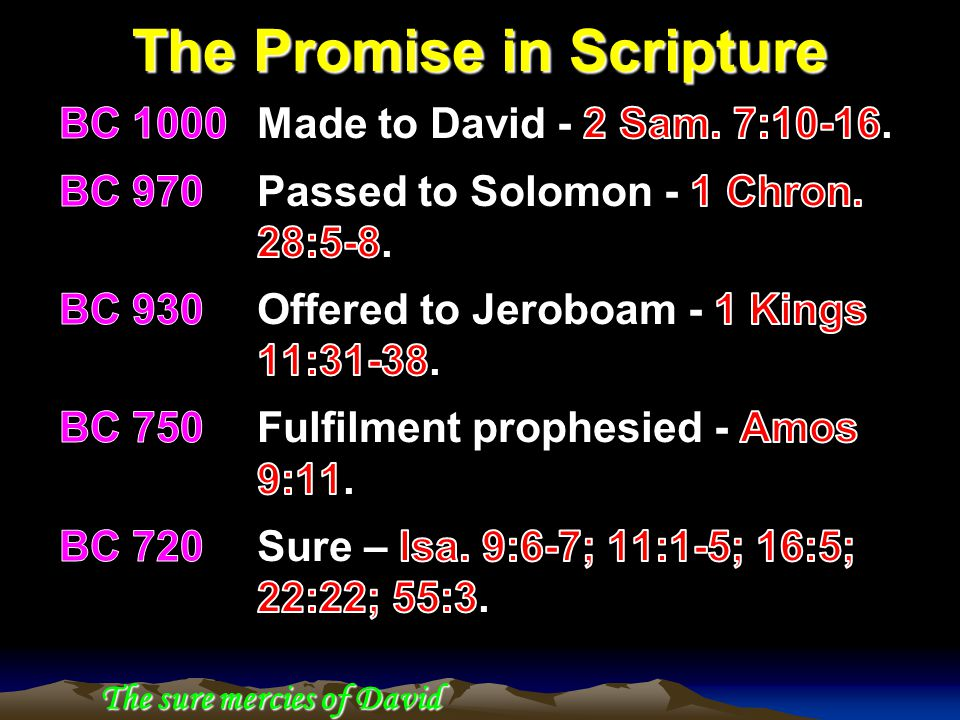 The Promise in Scripture The sure mercies of David
