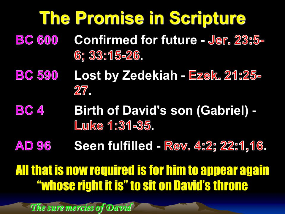 The Promise in Scripture The sure mercies of David All that is now required is for him to appear again whose right it is to sit on David's throne