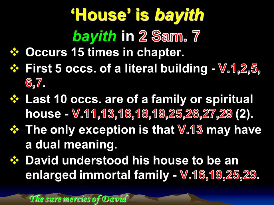 'House' is bayith The sure mercies of David