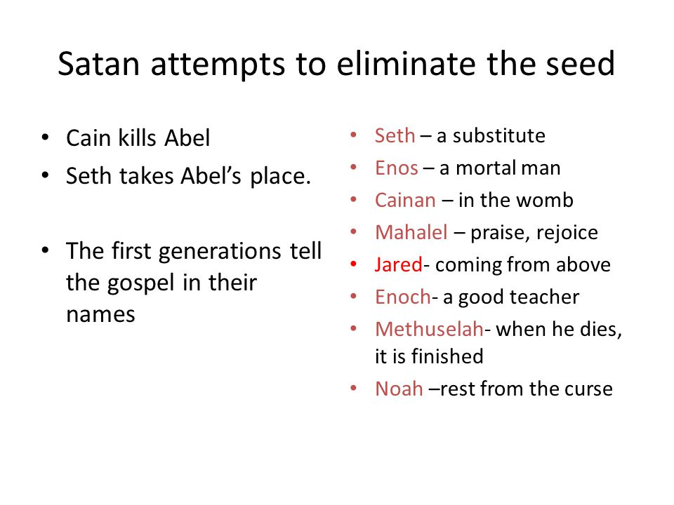 Satan attempts to eliminate the seed Cain kills Abel Seth takes Abel's place. The first generations tell the gospel in their names Seth – a substitute