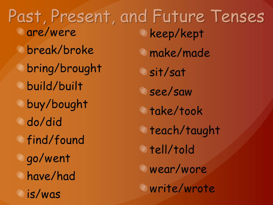 Past, Present, and Future Tenses are/were break/broke bring/brought build/built buy/bought do/did find/found go/went have/had is/was keep/kept make/ma