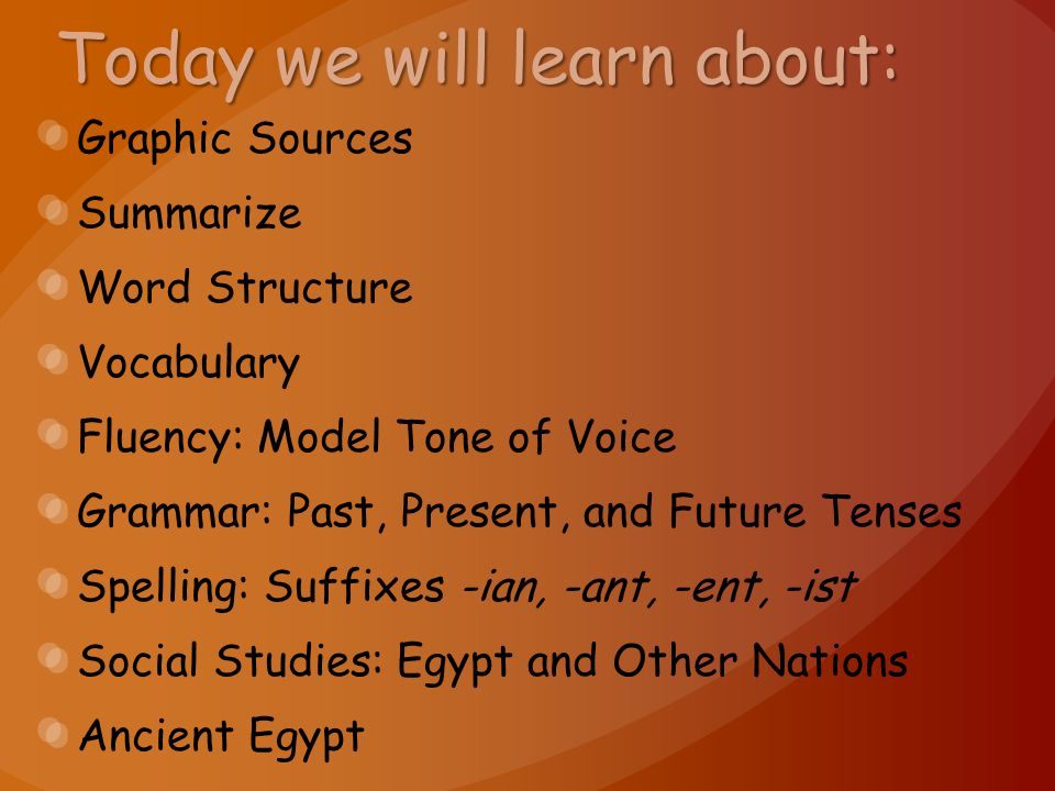 Today we will learn about: Graphic Sources Summarize Word Structure Vocabulary Fluency: Model Tone of Voice Grammar: Past, Present, and Future Tenses