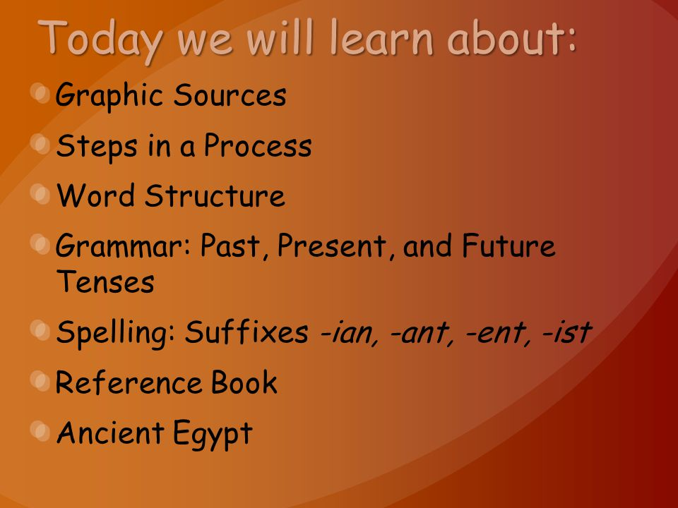 Today we will learn about: Graphic Sources Steps in a Process Word Structure Grammar: Past, Present, and Future Tenses Spelling: Suffixes -ian, -ant,