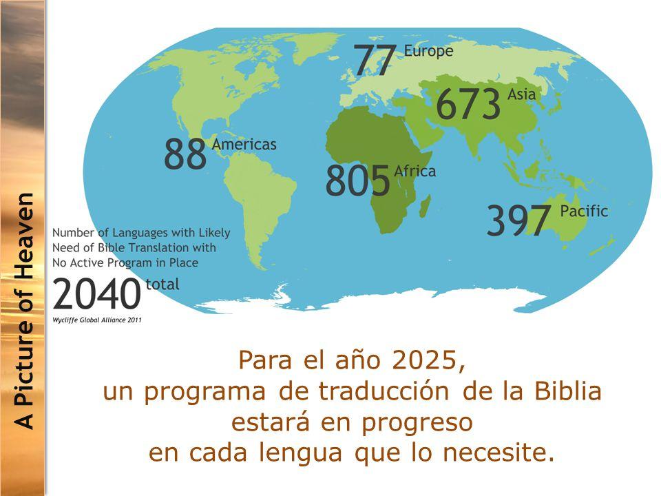 A Picture of Heaven Para el año 2025, un programa de traducción de la Biblia estará en progreso en cada lengua que lo necesite.