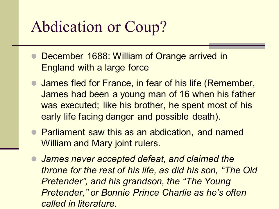 Abdication or Coup.
