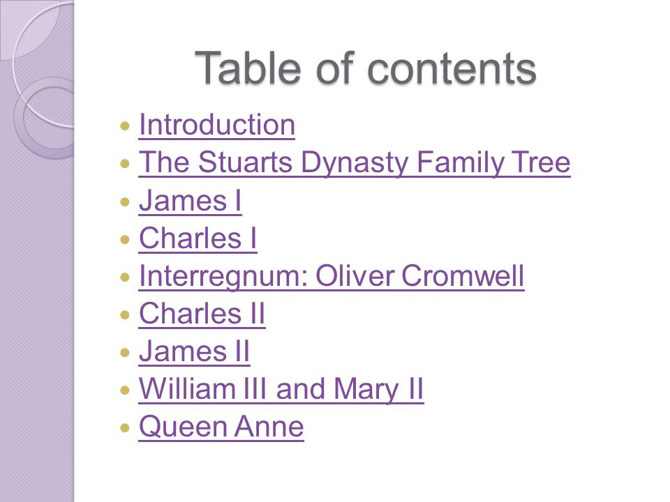 Table of contents Introduction The Stuarts Dynasty Family Tree James I Charles I Interregnum: Oliver Cromwell Charles II James II William III and Mary II Queen Anne