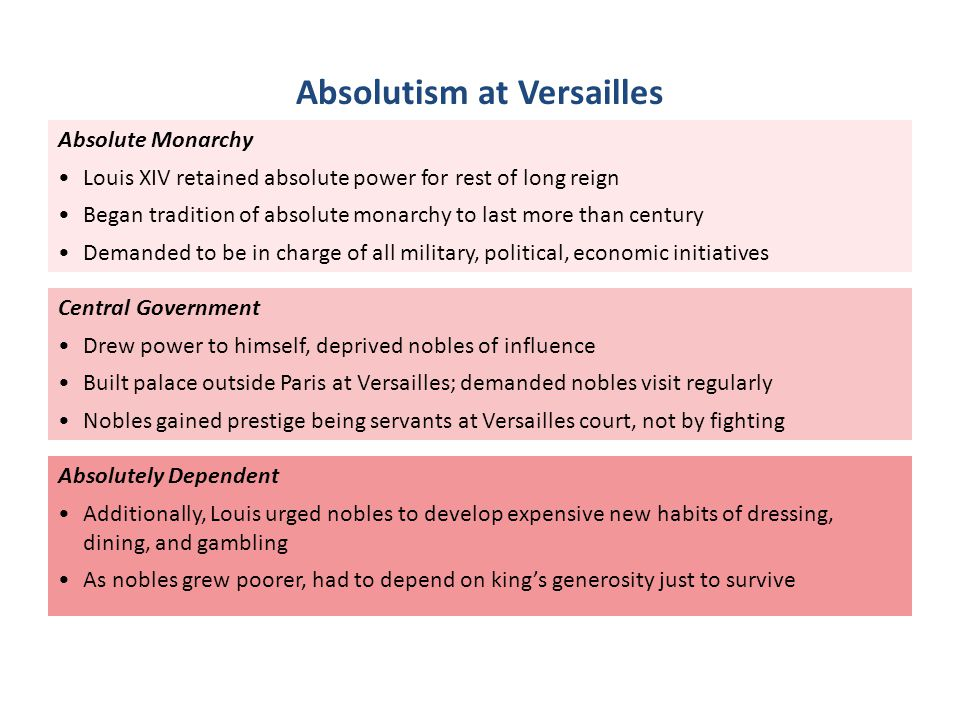 Absolute Monarchy Louis XIV retained absolute power for rest of long reign Began tradition of absolute monarchy to last more than century Demanded to