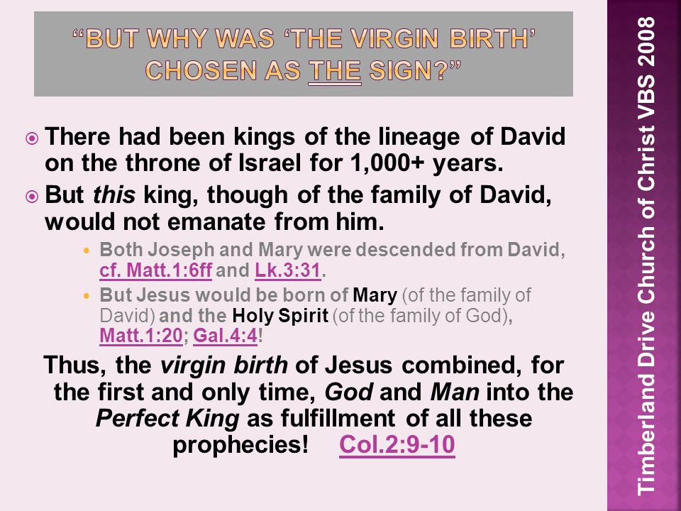  There had been kings of the lineage of David on the throne of Israel for 1,000+ years.