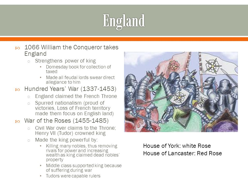  1066 William the Conqueror takes England o Strengthens power of king Domesday book for collection of taxed Made all feudal lords swear direct allegiance to him  Hundred Years' War (1337-1453) o England claimed the French Throne o Spurred nationalism (proud of victories, Loss of French territory made them focus on English land)  War of the Roses (1455-1485) o Civil War over claims to the Throne; Henry VII (Tudor) crowned king o Made the king powerful by: Killing many nobles, thus removing rivals for power and increasing wealth as king claimed dead nobles' property Middle class supported king because of suffering during war Tudors were capable rulers House of York: white Rose House of Lancaster: Red Rose