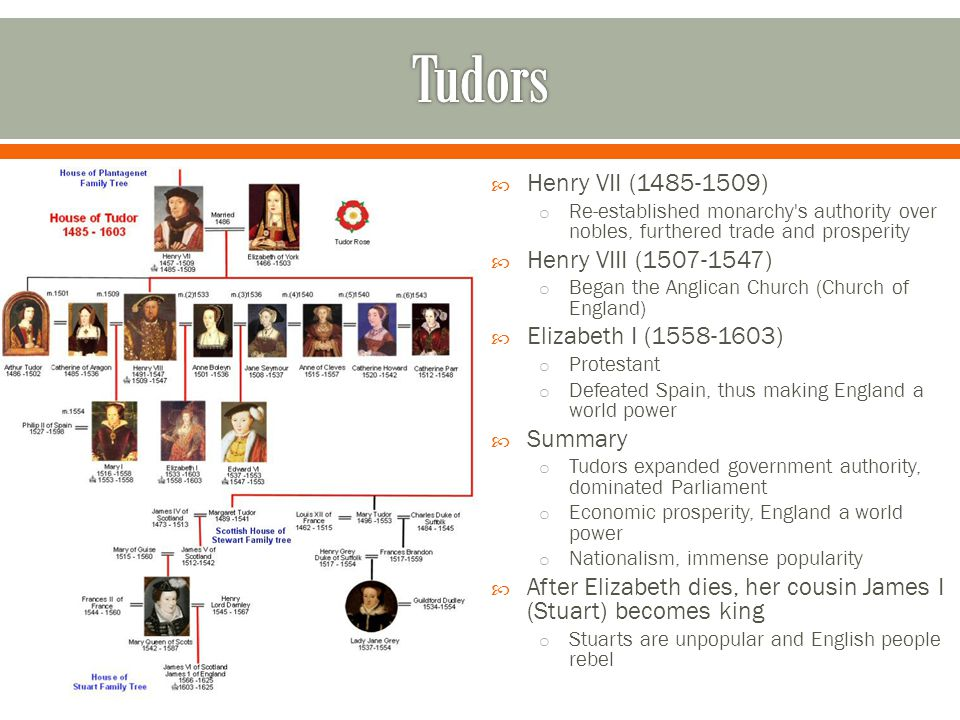  Henry VII (1485-1509) o Re-established monarchy's authority over nobles, furthered trade and prosperity  Henry VIII (1507-1547) o Began the Anglica