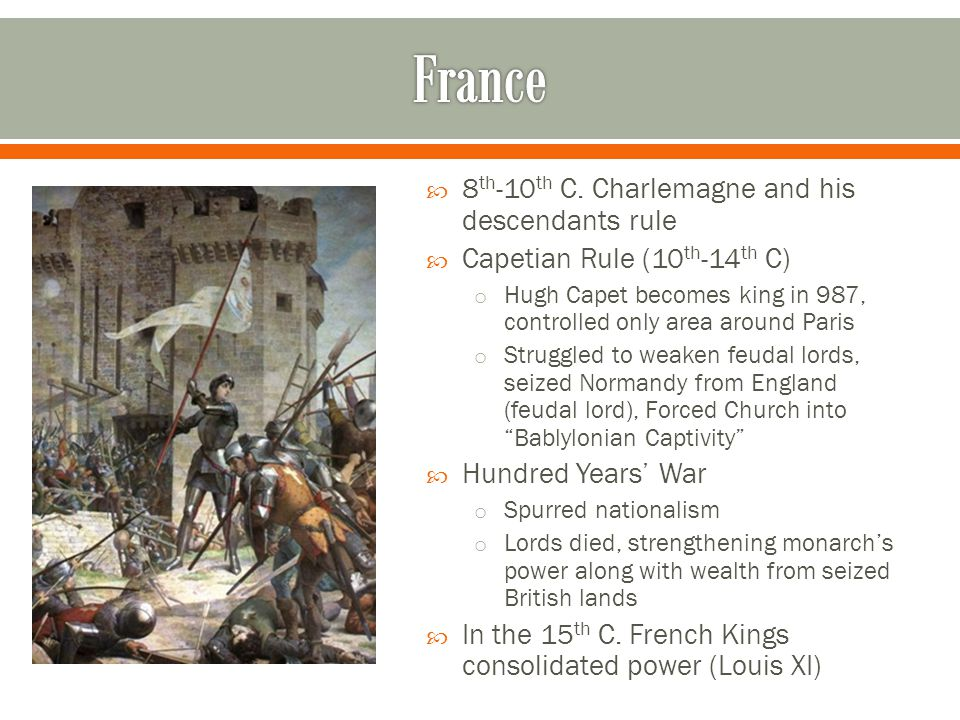  8 th -10 th C. Charlemagne and his descendants rule  Capetian Rule (10 th -14 th C) o Hugh Capet becomes king in 987, controlled only area around P