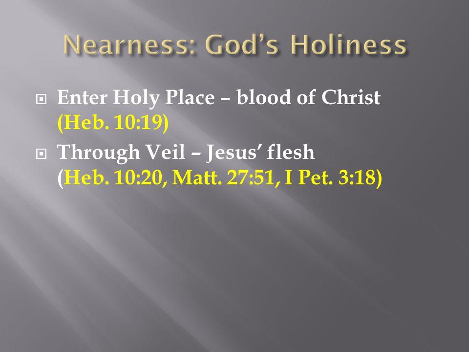  Through Veil – Jesus' flesh (Heb. 10:20, Matt. 27:51, I Pet. 3:18)