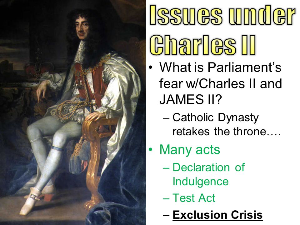 What is Parliament's fear w/Charles II and JAMES II.
