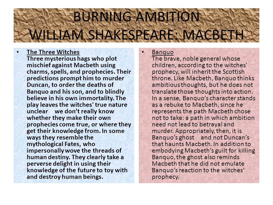 BURNING AMBITION WILLIAM SHAKESPEARE: MACBETH The Three Witches Three mysterious hags who plot mischief against Macbeth using charms, spells, and prophecies.