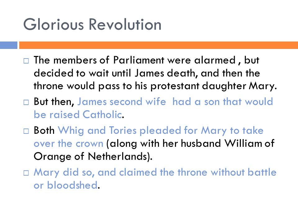 Glorious Revolution  The members of Parliament were alarmed, but decided to wait until James death, and then the throne would pass to his protestant