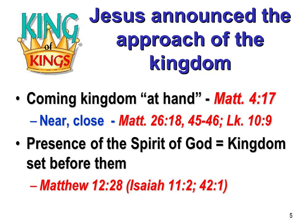 Jesus preached the gospel of the kingdom Good news of the kingdom Good news of the kingdom – Matthew 4:23 (Luke 9:11) Gospel is the word of the kingdom Gospel is the word of the kingdom – Matthew 13:10-11, 18-19 6