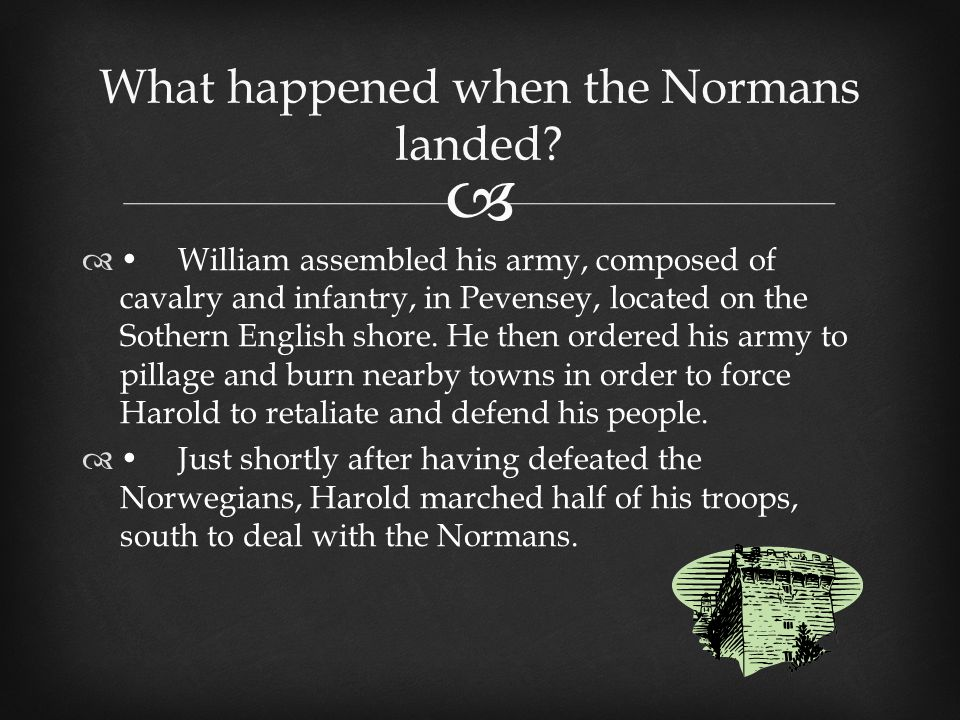  What happened when the Normans landed.