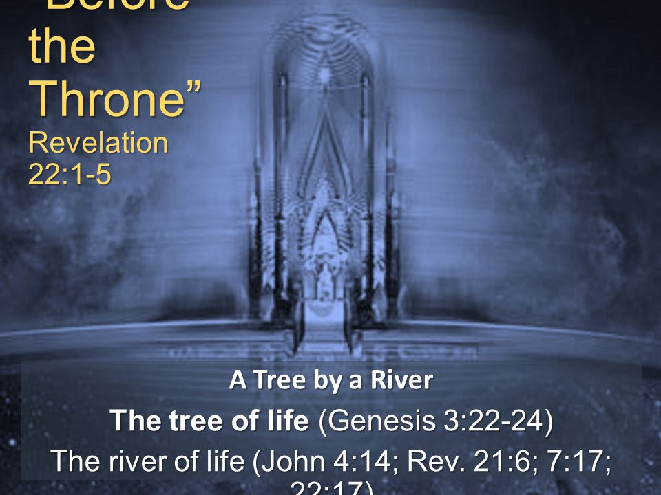 Before the Throne Revelation 22:1-5 A Tree by a River The tree of life (Genesis 3:22-24) The river of life (John 4:14; Rev.