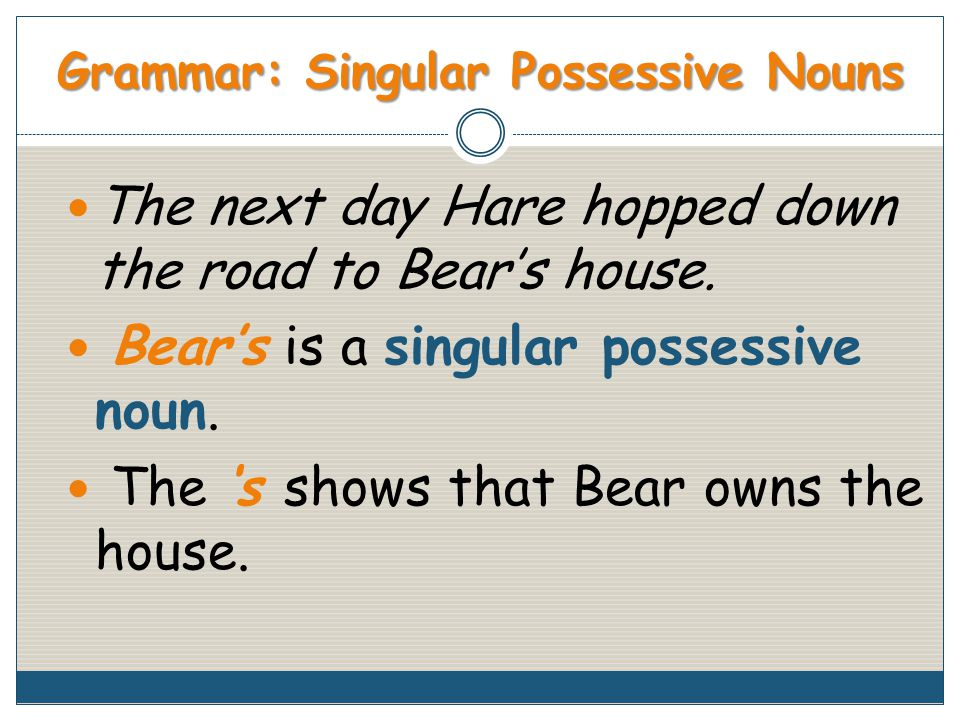 Grammar: Singular Possessive Nouns The next day Hare hopped down the road to Bear's house.