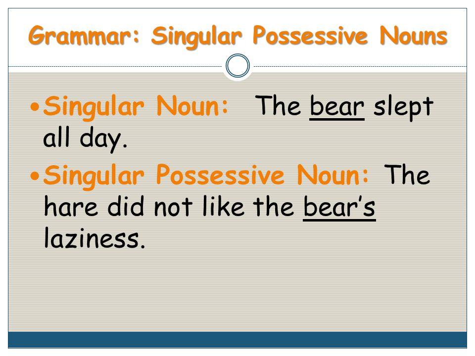 Grammar: Singular Possessive Nouns Singular Noun: The bear slept all day.