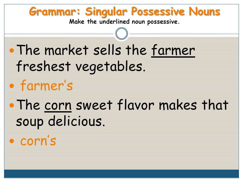 Grammar: Singular Possessive Nouns Grammar: Singular Possessive Nouns Make the underlined noun possessive.
