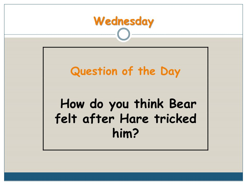 Wednesday Question of the Day How do you think Bear felt after Hare tricked him